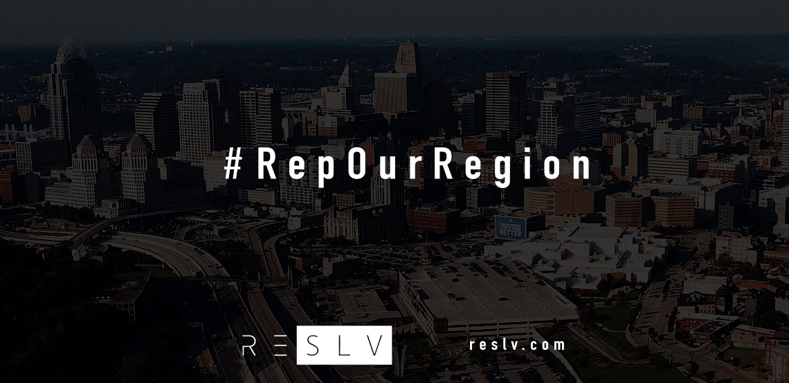 RESLV #RepOurRegion main header image, video screenshot Cincinnati skyline with RESLV logo and website